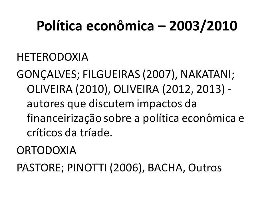 Política econômica – 2003/2010 HETERODOXIA GONÇALVES; FILGUEIRAS (2007), NAKATANI; OLIVEIRA (2010), OLIVEIRA (2012, 2013) - autores que discutem impac