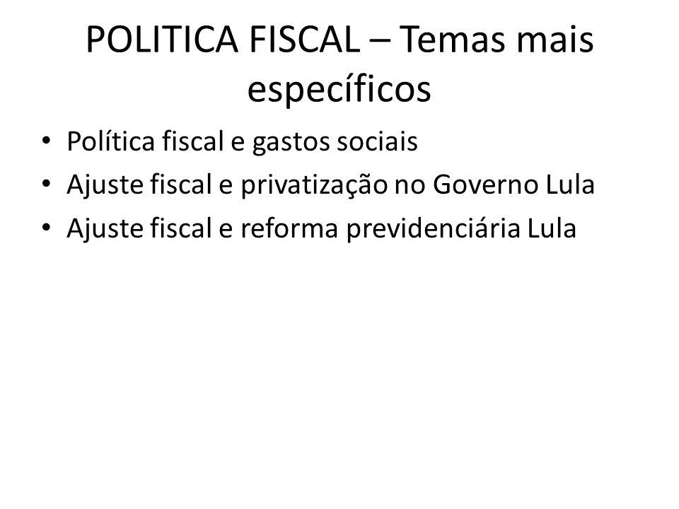 POLITICA FISCAL – Temas mais específicos Política fiscal e gastos sociais Ajuste fiscal e privatização no Governo Lula Ajuste fiscal e reforma previde