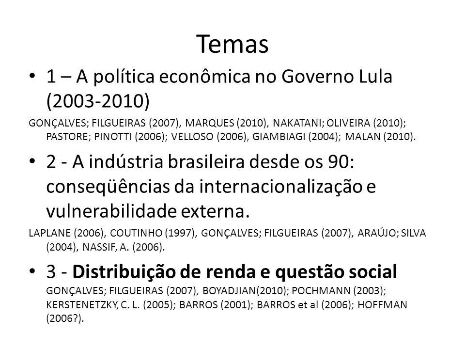 Temas 1 – A política econômica no Governo Lula (2003-2010) GONÇALVES; FILGUEIRAS (2007), MARQUES (2010), NAKATANI; OLIVEIRA (2010); PASTORE; PINOTTI (