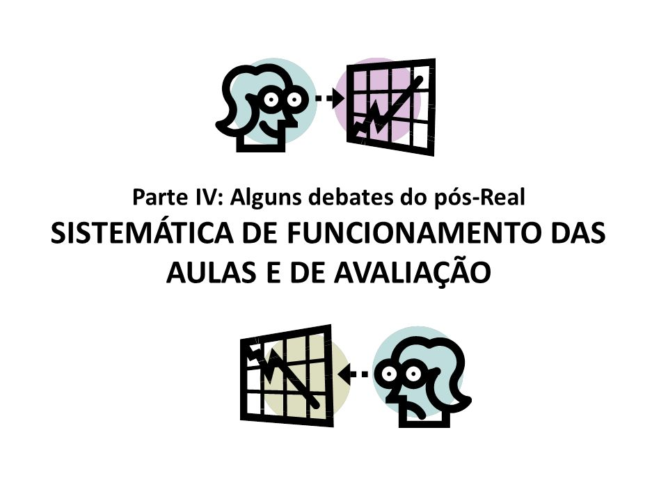 Parte IV: Alguns debates do pós-Real SISTEMÁTICA DE FUNCIONAMENTO DAS AULAS E DE AVALIAÇÃO