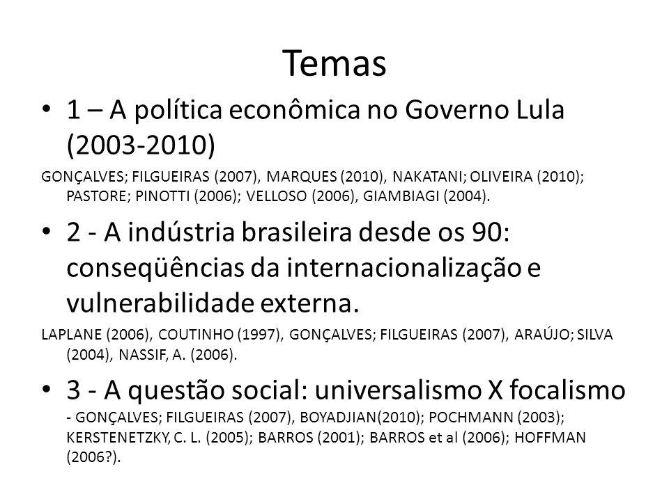 Temas 1 – A política econômica no Governo Lula (2003-2010) GONÇALVES; FILGUEIRAS (2007), MARQUES (2010), NAKATANI; OLIVEIRA (2010); PASTORE; PINOTTI (2006); VELLOSO (2006), GIAMBIAGI (2004).