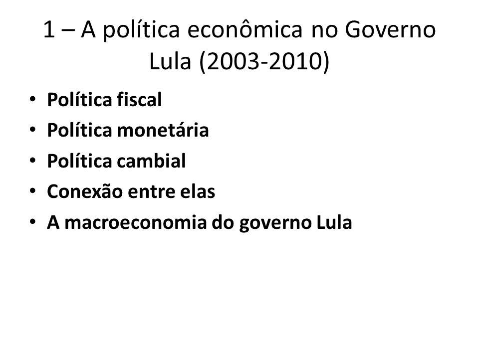 1 – A política econômica no Governo Lula (2003-2010) Política fiscal Política monetária Política cambial Conexão entre elas A macroeconomia do governo Lula
