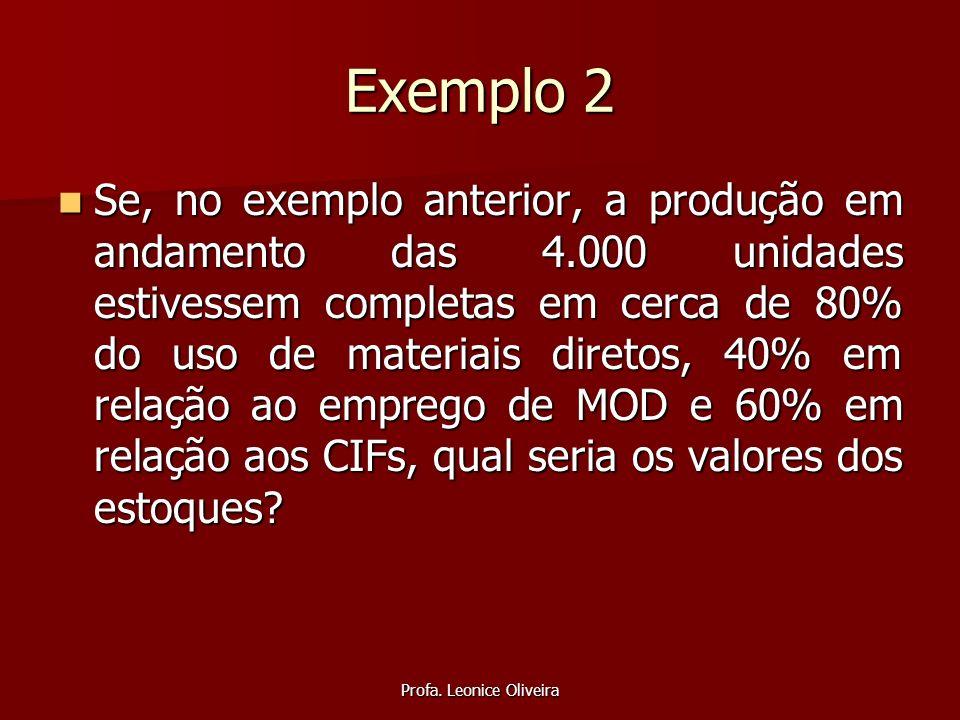 Profa. Leonice Oliveira Exemplo 2 Se, no exemplo anterior, a produção em andamento das 4.000 unidades estivessem completas em cerca de 80% do uso de m