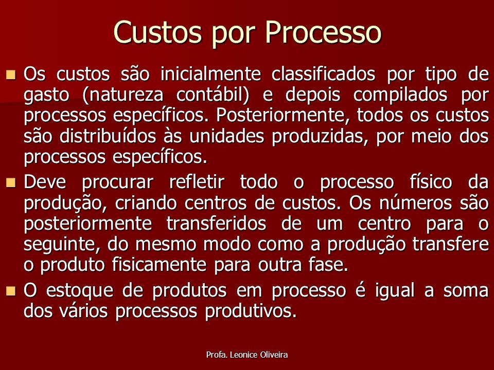 Profa. Leonice Oliveira Custos por Processo Os custos são inicialmente classificados por tipo de gasto (natureza contábil) e depois compilados por pro