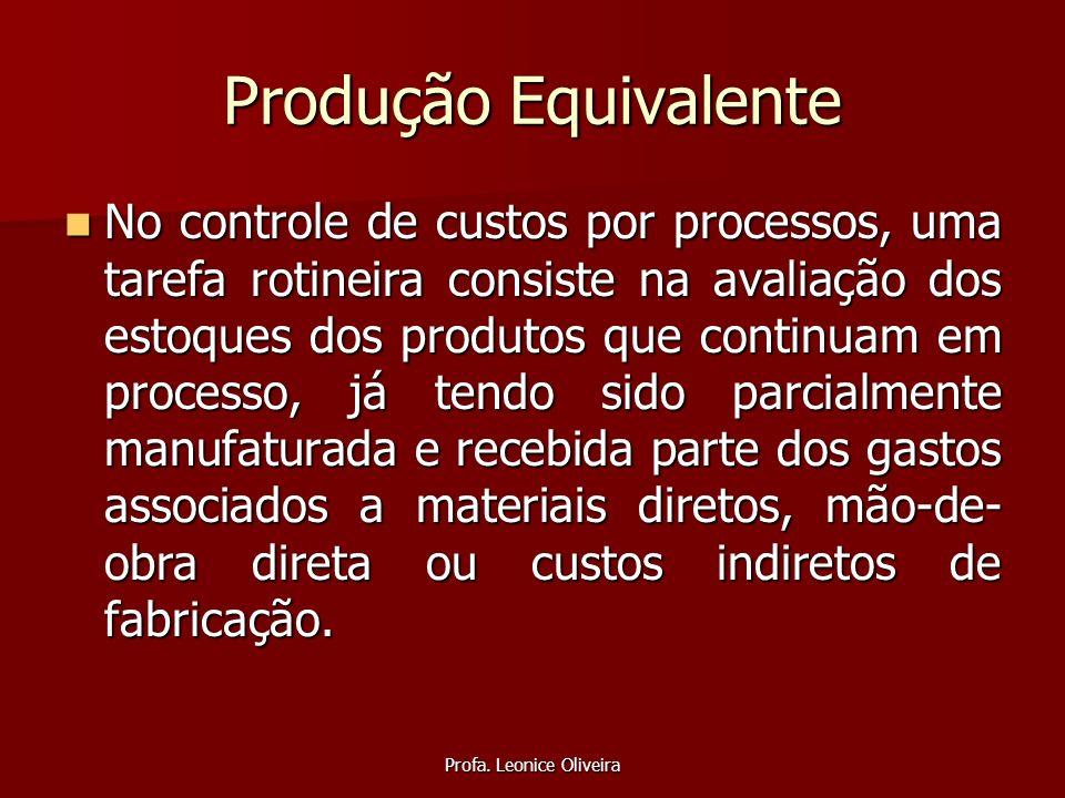 Profa. Leonice Oliveira Produção Equivalente No controle de custos por processos, uma tarefa rotineira consiste na avaliação dos estoques dos produtos