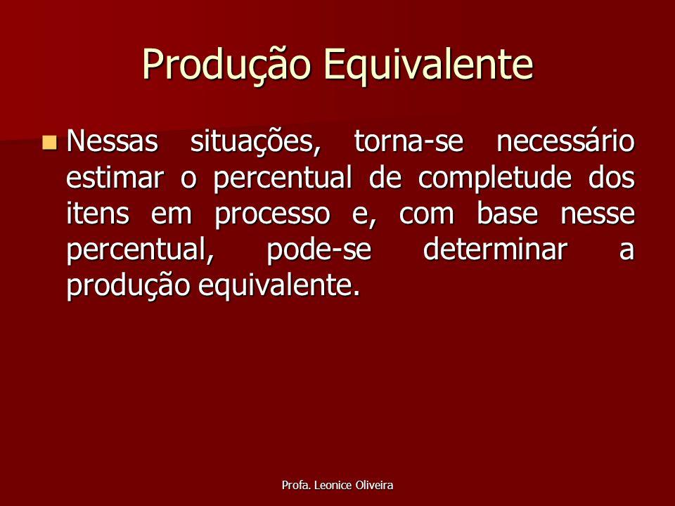 Profa. Leonice Oliveira Produção Equivalente Nessas situações, torna-se necessário estimar o percentual de completude dos itens em processo e, com bas