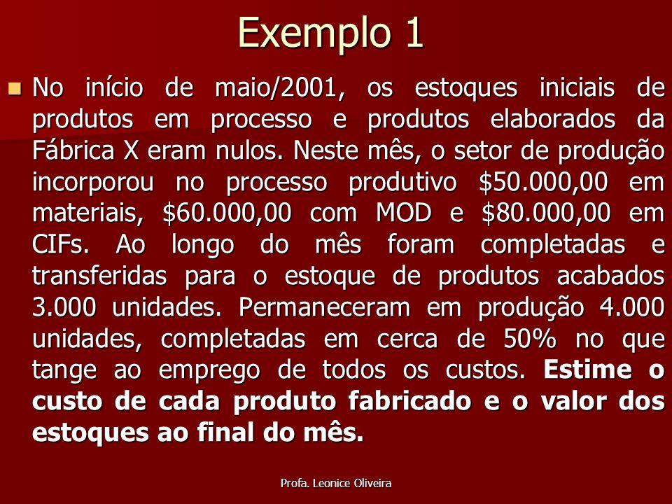 Profa. Leonice Oliveira Exemplo 1 No início de maio/2001, os estoques iniciais de produtos em processo e produtos elaborados da Fábrica X eram nulos.