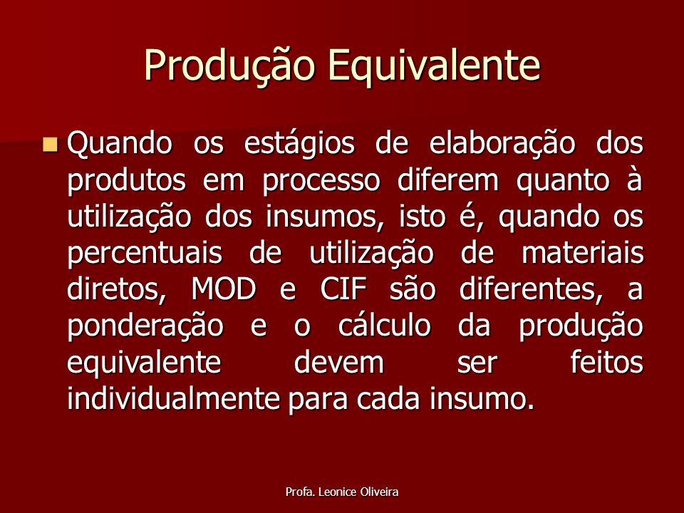Profa. Leonice Oliveira Produção Equivalente Quando os estágios de elaboração dos produtos em processo diferem quanto à utilização dos insumos, isto é