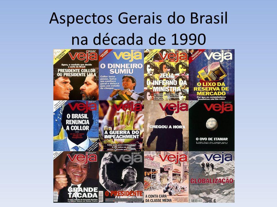 Brasil pós 90 Condicion antes Sociedade Governos Desilusão Política Influência da Mídia Consenso Washington Collor 1990/ out 1992 Itamar out 1992/ 1994 FHC 1 1995/1998 FHC 2 1999/2002