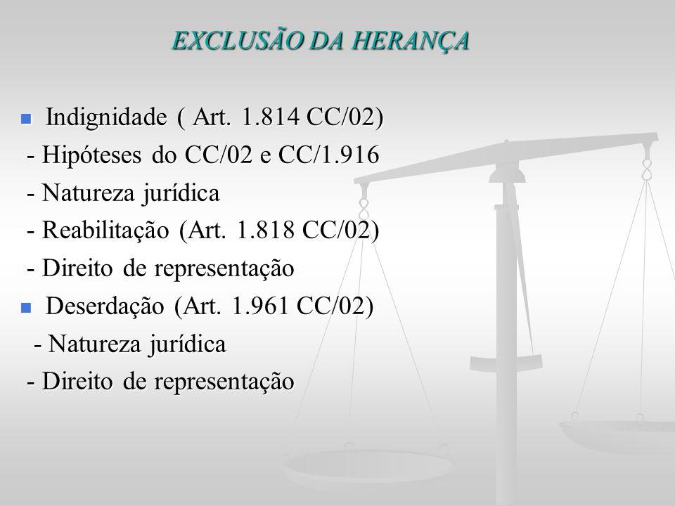 EXCLUSÃO DA HERANÇA EXCLUSÃO DA HERANÇA Indignidade ( Art. 1.814 CC/02) Indignidade ( Art. 1.814 CC/02) - Hipóteses do CC/02 e CC/1.916 - Hipóteses do