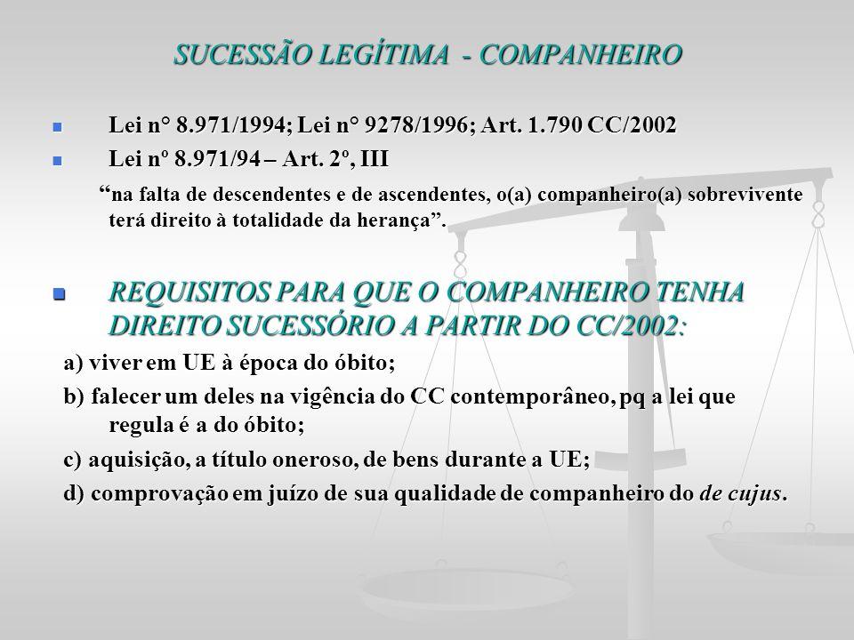SUCESSÃO LEGÍTIMA - COMPANHEIRO Lei n° 8.971/1994; Lei n° 9278/1996; Art. 1.790 CC/2002 Lei n° 8.971/1994; Lei n° 9278/1996; Art. 1.790 CC/2002 Lei nº