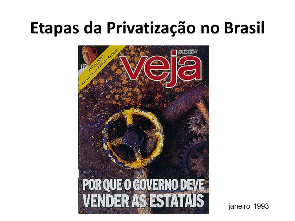 Etapas da Privatização no Brasil janeiro 1993