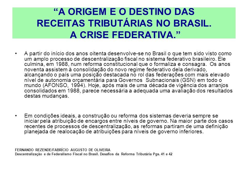 A ORIGEM E O DESTINO DAS RECEITAS TRIBUTÁRIAS NO BRASIL. A CRISE FEDERATIVA. A partir do início dos anos oitenta desenvolve-se no Brasil o que tem sid