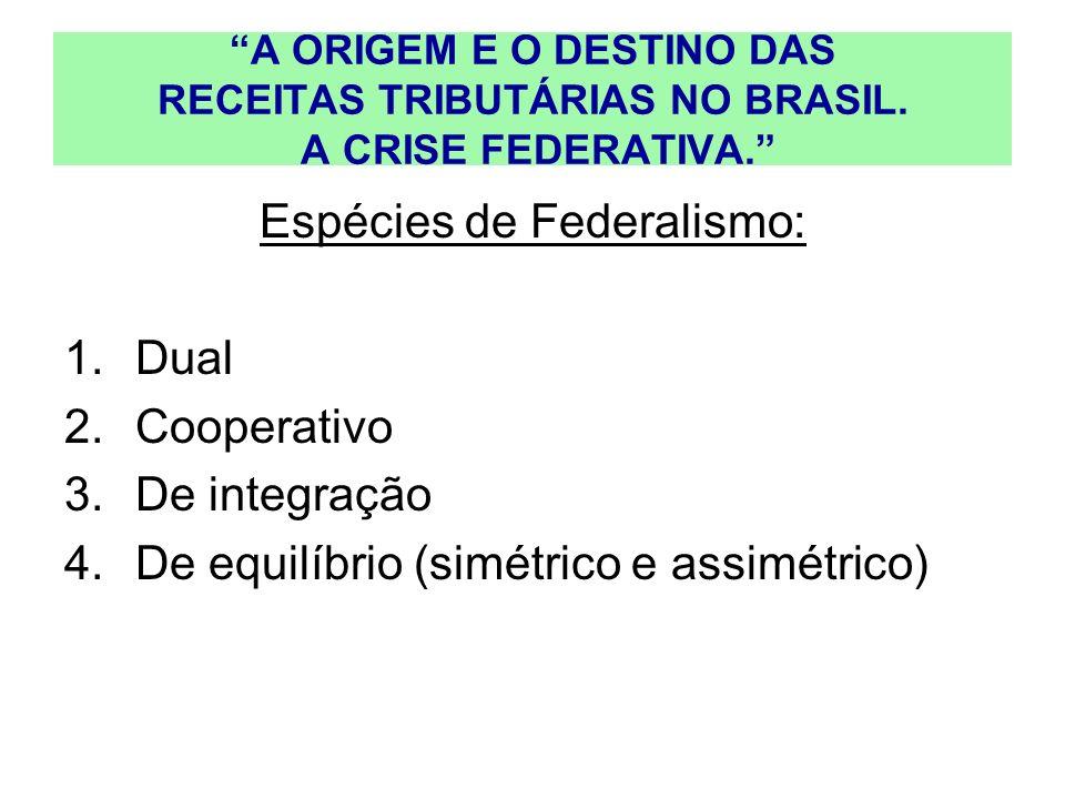 A ORIGEM E O DESTINO DAS RECEITAS TRIBUTÁRIAS NO BRASIL. A CRISE FEDERATIVA. Espécies de Federalismo: 1.Dual 2.Cooperativo 3.De integração 4.De equilí