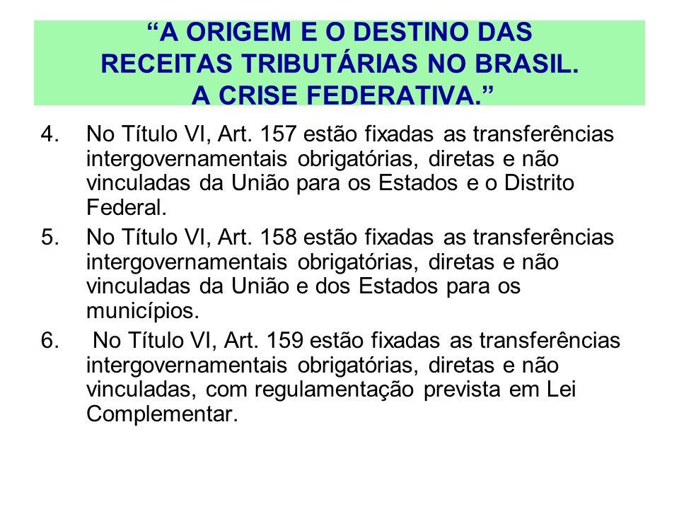 A ORIGEM E O DESTINO DAS RECEITAS TRIBUTÁRIAS NO BRASIL. A CRISE FEDERATIVA. 4.No Título VI, Art. 157 estão fixadas as transferências intergovernament