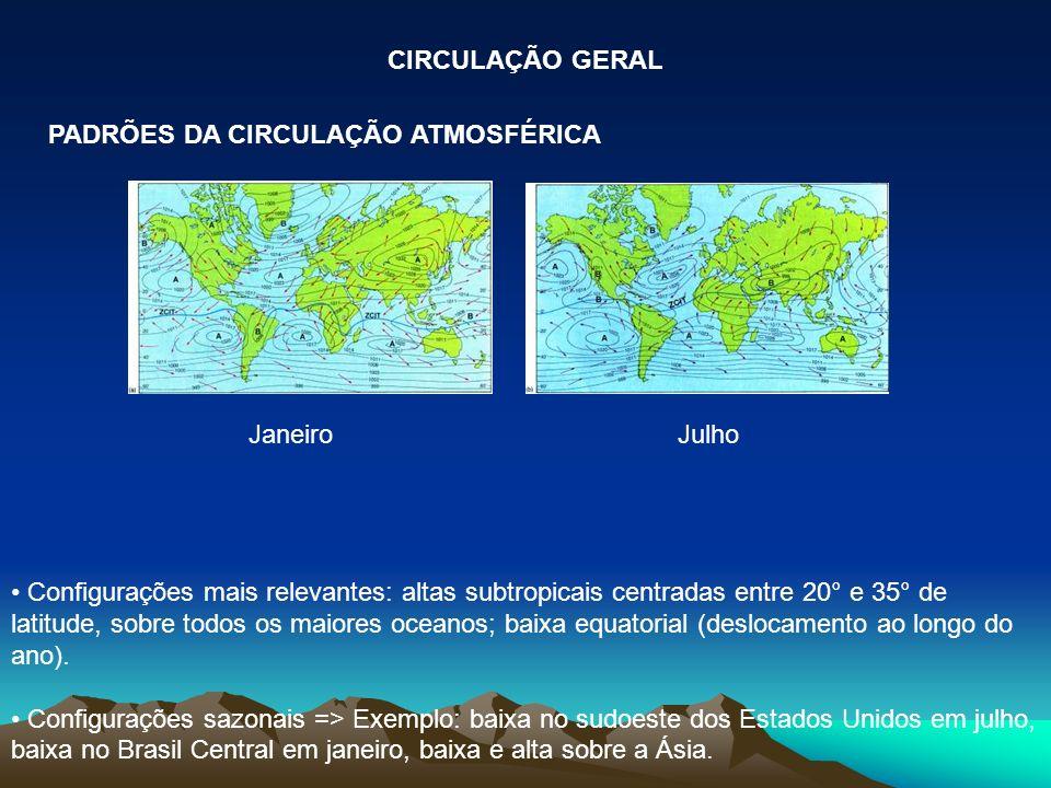 Janeiro Julho Configurações mais relevantes: altas subtropicais centradas entre 20° e 35° de latitude, sobre todos os maiores oceanos; baixa equatoria