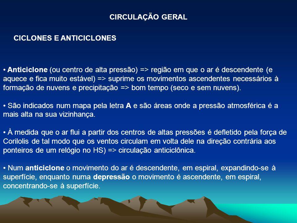 CICLONES E ANTICICLONES CIRCULAÇÃO GERAL