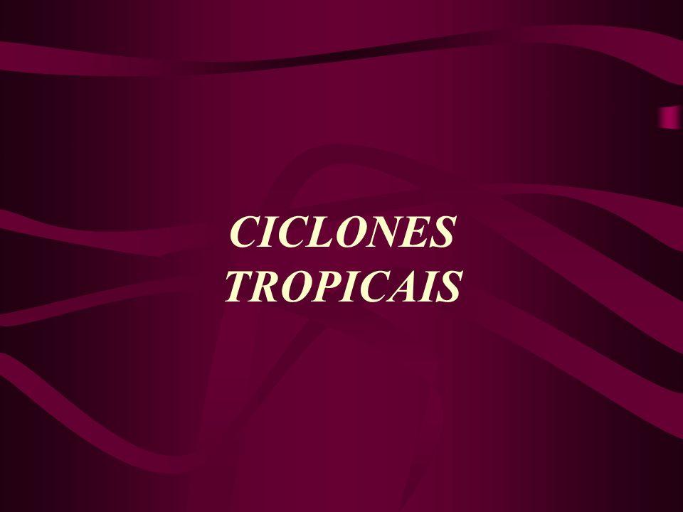 Ciclones Tropicais Este é o nome genérico dado ao vento que se movimenta girando com grande velocidade, cuja pressão diminui no seu interior e adquire uma circulação rotacional organizada e no sentido anti-horário no HN e horário no HS.