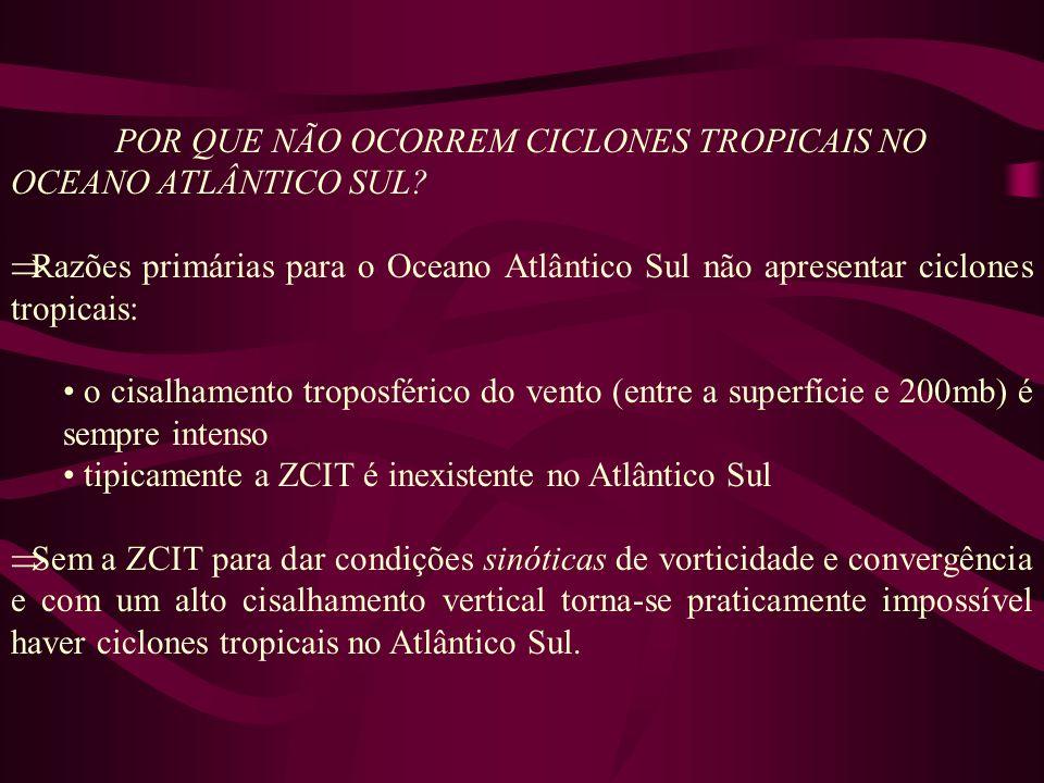 POR QUE NÃO OCORREM CICLONES TROPICAIS NO OCEANO ATLÂNTICO SUL? Razões primárias para o Oceano Atlântico Sul não apresentar ciclones tropicais: o cisa