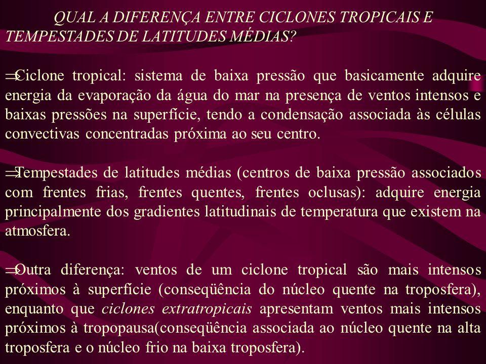 QUAL A DIFERENÇA ENTRE CICLONES TROPICAIS E TEMPESTADES DE LATITUDES MÉDIAS? Ciclone tropical: sistema de baixa pressão que basicamente adquire energi