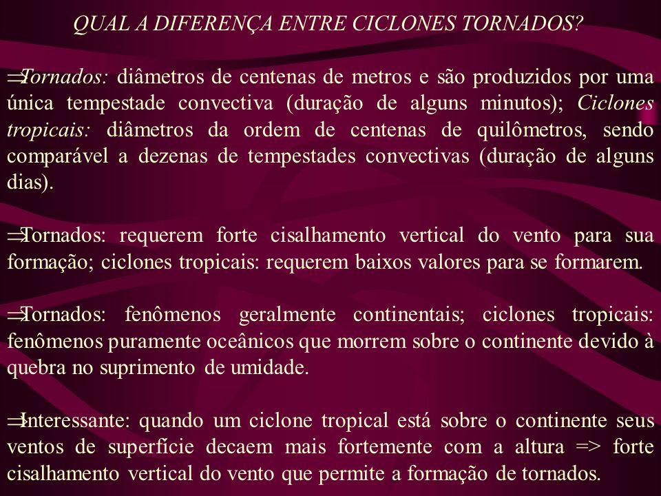 QUAL A DIFERENÇA ENTRE CICLONES TORNADOS? Tornados: diâmetros de centenas de metros e são produzidos por uma única tempestade convectiva (duração de a