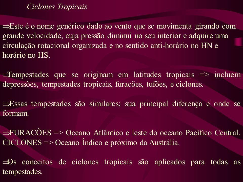 Ciclones Tropicais Este é o nome genérico dado ao vento que se movimenta girando com grande velocidade, cuja pressão diminui no seu interior e adquire