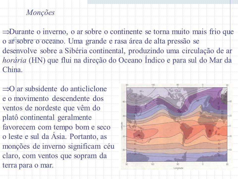 Monções Durante o inverno, o ar sobre o continente se torna muito mais frio que o ar sobre o oceano. Uma grande e rasa área de alta pressão se desenvo