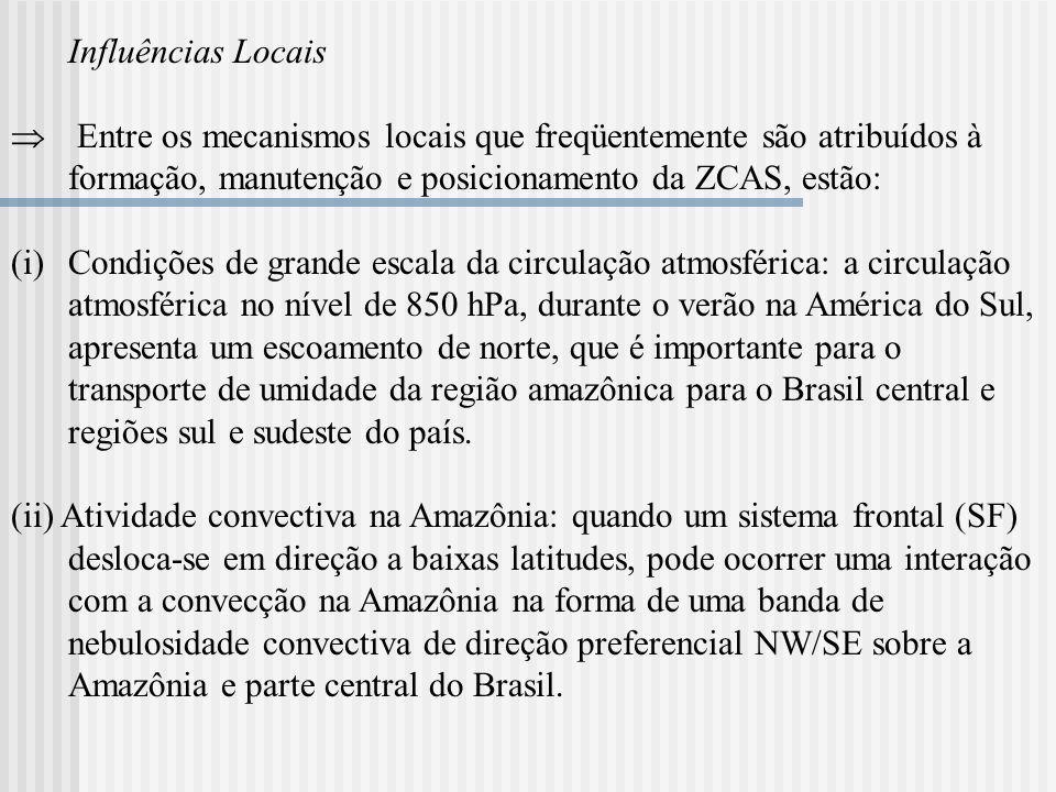 Influências Locais Entre os mecanismos locais que freqüentemente são atribuídos à formação, manutenção e posicionamento da ZCAS, estão: (i)Condições d