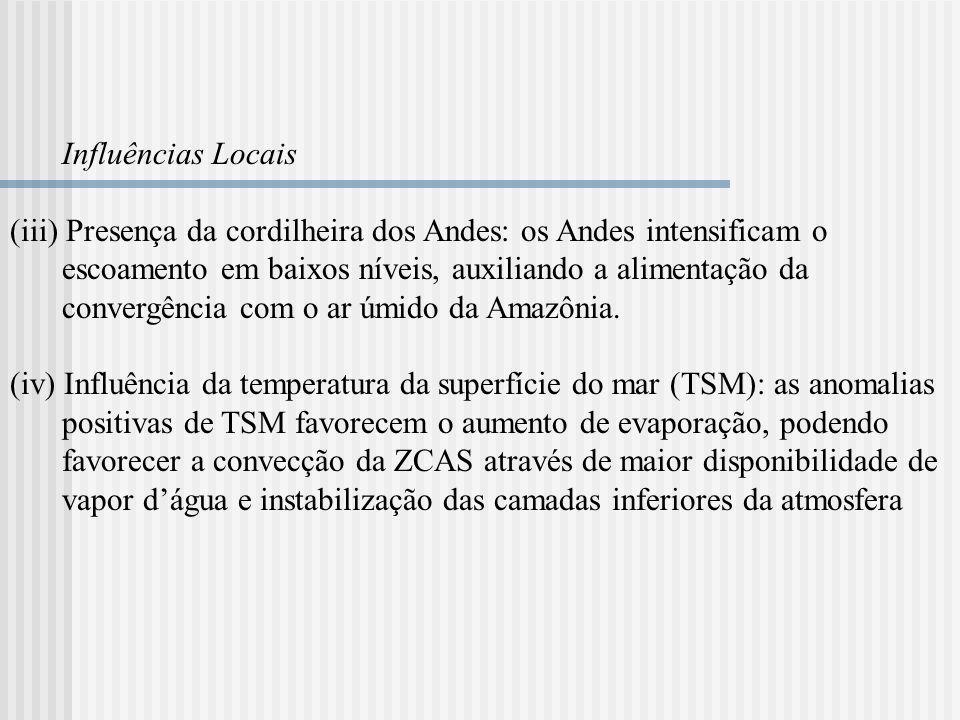 Influências Locais (iii) Presença da cordilheira dos Andes: os Andes intensificam o escoamento em baixos níveis, auxiliando a alimentação da convergên