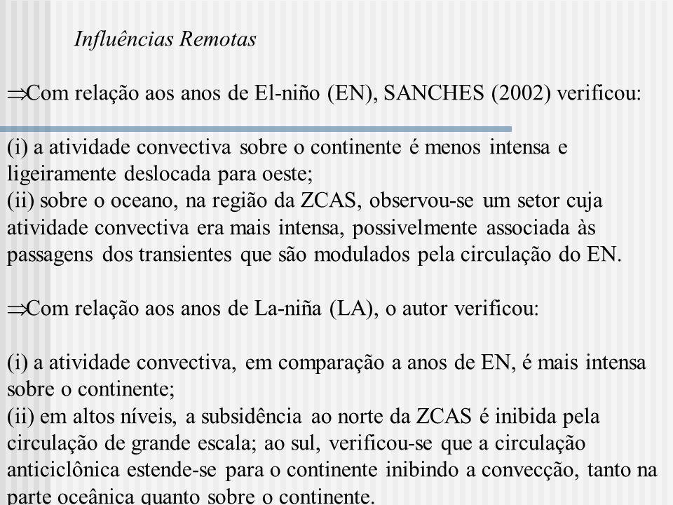 Influências Remotas Com relação aos anos de El-niño (EN), SANCHES (2002) verificou: (i) a atividade convectiva sobre o continente é menos intensa e li