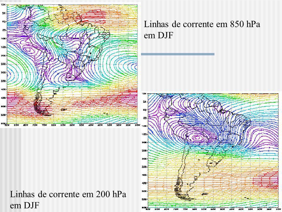 Linhas de corrente em 850 hPa em DJF Linhas de corrente em 200 hPa em DJF