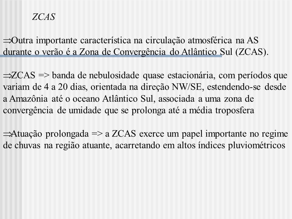 ZCAS Outra importante característica na circulação atmosférica na AS durante o verão é a Zona de Convergência do Atlântico Sul (ZCAS). ZCAS => banda d