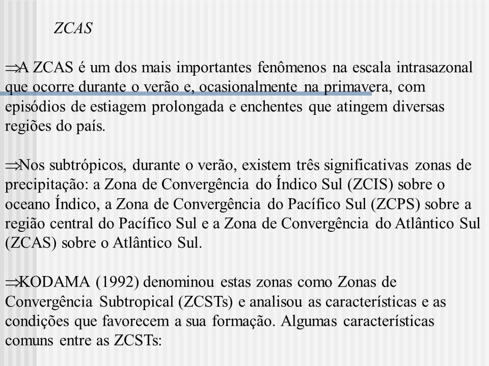 ZCAS (i)são sistemas quase-estacionários; (ii) estendem-se para leste, nos subtrópicos, a partir de regiões tropicais específicas de intensa atividade convectiva e estão associadas a uma alta pressão no lado leste; (iii) formam-se ao longo de jatos subtropicais em altos níveis e a leste de cavados semi-estacionários; (iv) são zonas de convergência em uma camada inferior úmida; (v) estão localizadas na fronteira de massas de ar tropicais úmidas, em regiões de forte gradiente de umidade em baixos níveis.
