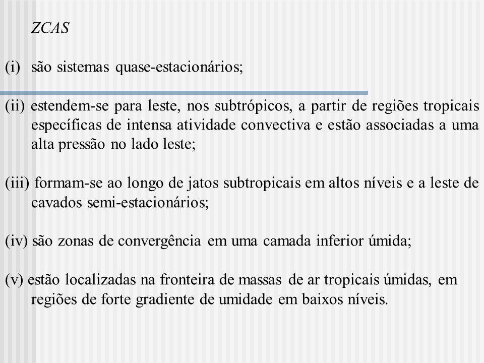 ZCAS (i)são sistemas quase-estacionários; (ii) estendem-se para leste, nos subtrópicos, a partir de regiões tropicais específicas de intensa atividade