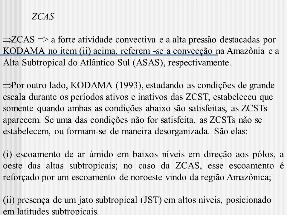 ZCAS ZCAS => a forte atividade convectiva e a alta pressão destacadas por KODAMA no item (ii) acima, referem -se a convecção na Amazônia e a Alta Subt