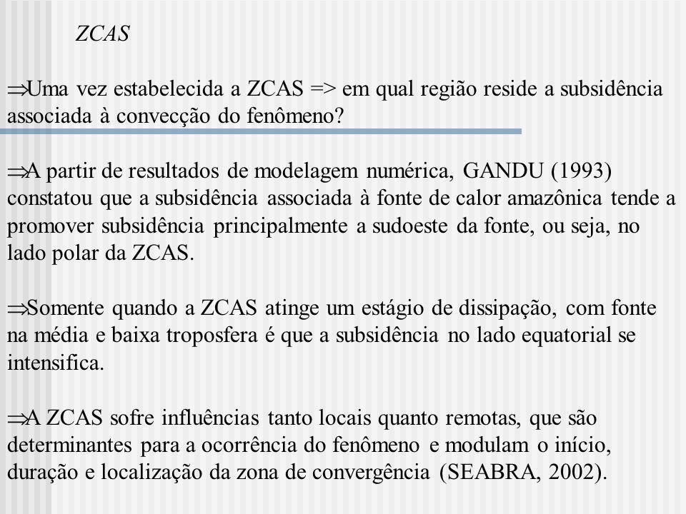 Influências Locais Entre os mecanismos locais que freqüentemente são atribuídos à formação, manutenção e posicionamento da ZCAS, estão: (i)Condições de grande escala da circulação atmosférica: a circulação atmosférica no nível de 850 hPa, durante o verão na América do Sul, apresenta um escoamento de norte, que é importante para o transporte de umidade da região amazônica para o Brasil central e regiões sul e sudeste do país.