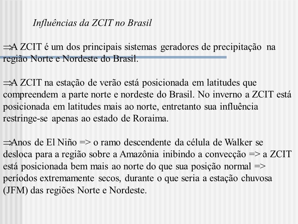 Influências da ZCIT no Brasil A ZCIT é um dos principais sistemas geradores de precipitação na região Norte e Nordeste do Brasil. A ZCIT na estação de