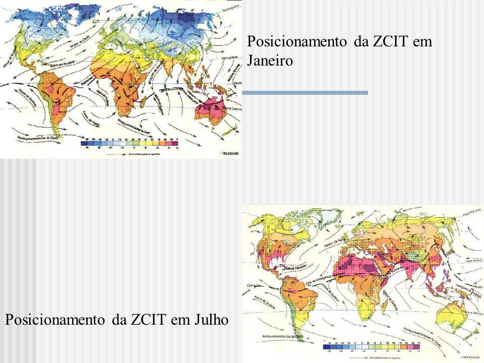 Posicionamento da ZCIT em Janeiro Posicionamento da ZCIT em Julho