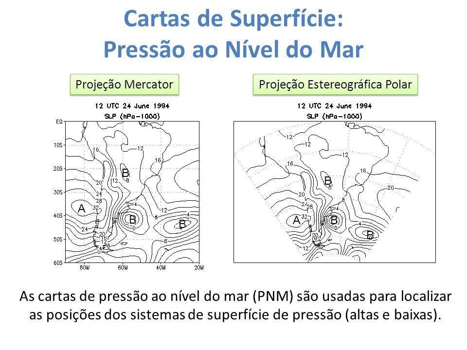 Cartas de Superfície: Pressão ao Nível do Mar Projeção Mercator Projeção Estereográfica Polar As cartas de pressão ao nível do mar (PNM) são usadas pa