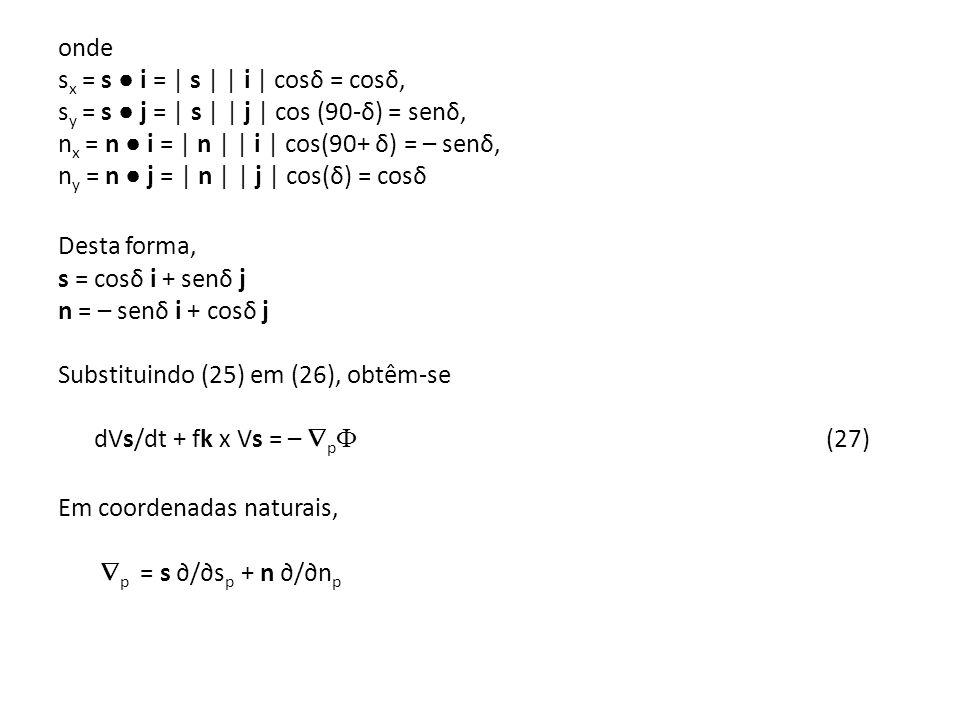 onde s x = s i = | s | | i | cosδ = cosδ, s y = s j = | s | | j | cos (90-δ) = senδ, n x = n i = | n | | i | cos(90+ δ) = – senδ, n y = n j = | n | |