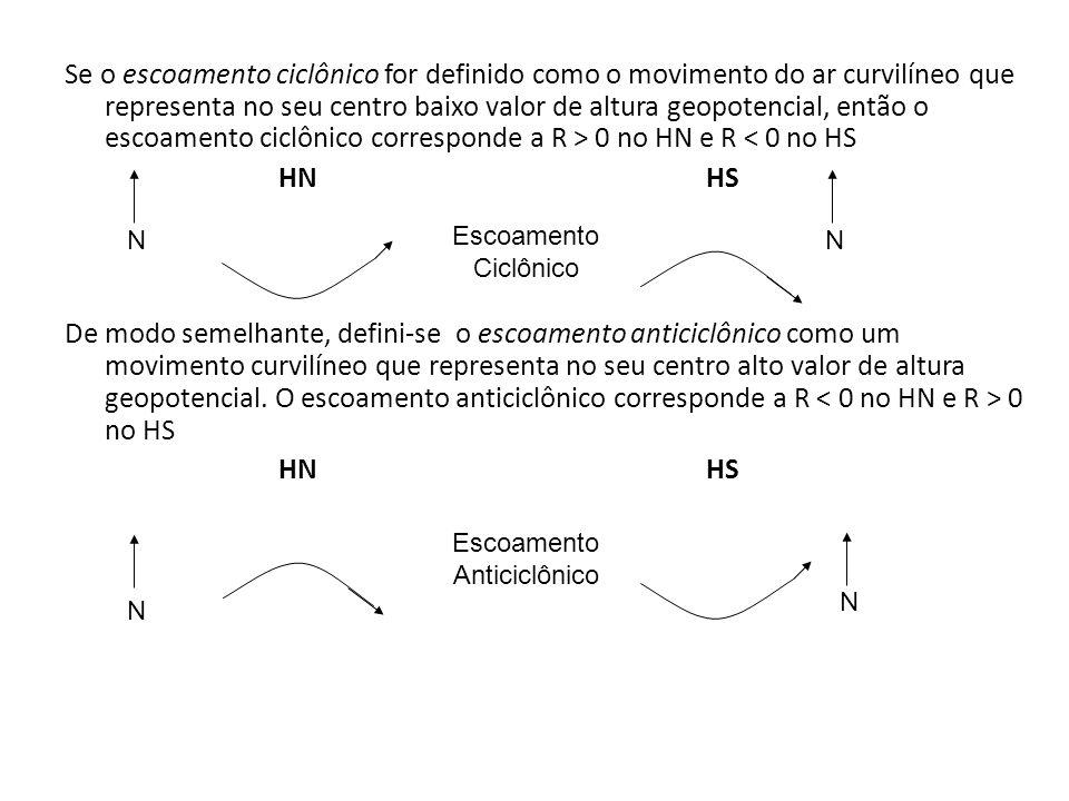 Se o escoamento ciclônico for definido como o movimento do ar curvilíneo que representa no seu centro baixo valor de altura geopotencial, então o esco