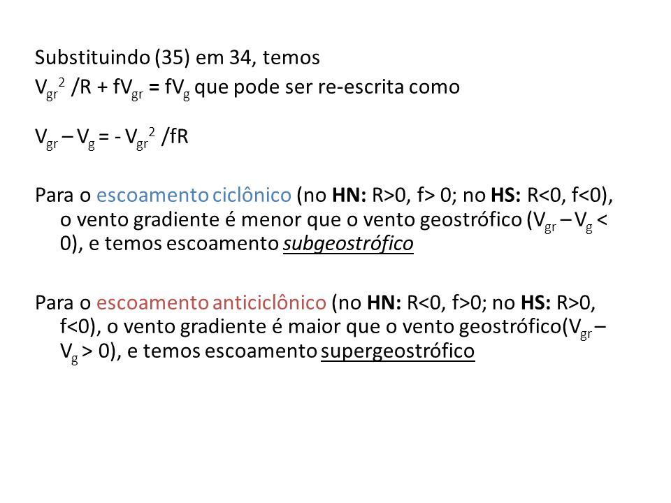 Substituindo (35) em 34, temos V gr 2 /R + fV gr = fV g que pode ser re-escrita como V gr – V g = - V gr 2 /fR Para o escoamento ciclônico (no HN: R>0