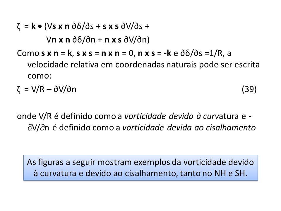 ζ = k (Vs x n δ/s + s x s V/s + Vn x n δ/n + n x s V/n) Como s x n = k, s x s = n x n = 0, n x s = -k e δ/s =1/R, a velocidade relativa em coordenadas