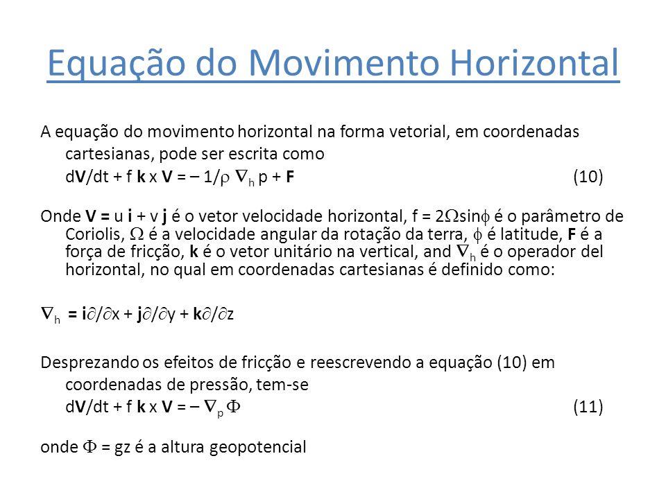 Equação do Movimento Horizontal A equação do movimento horizontal na forma vetorial, em coordenadas cartesianas, pode ser escrita como dV/dt + f k x V
