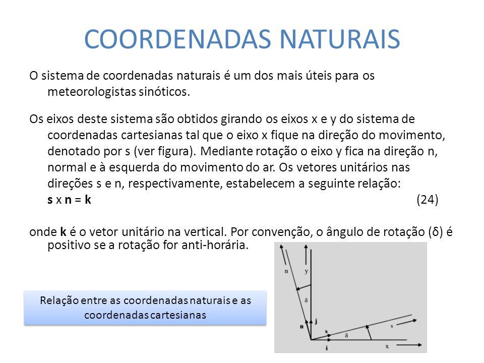 COORDENADAS NATURAIS O sistema de coordenadas naturais é um dos mais úteis para os meteorologistas sinóticos. Os eixos deste sistema são obtidos giran