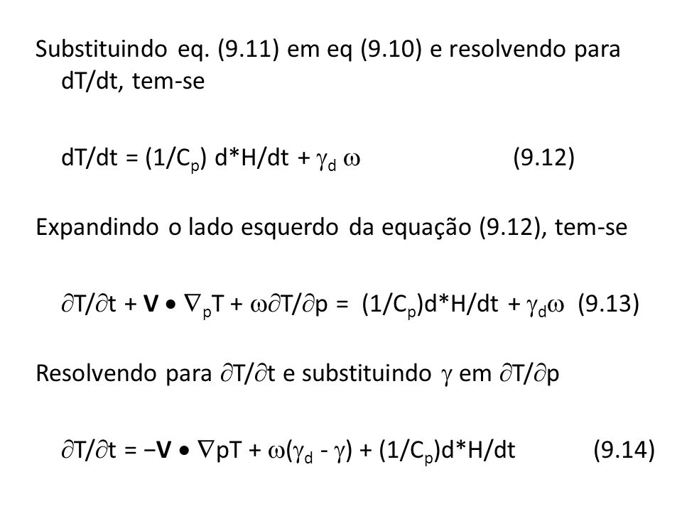 Substituindo eq.