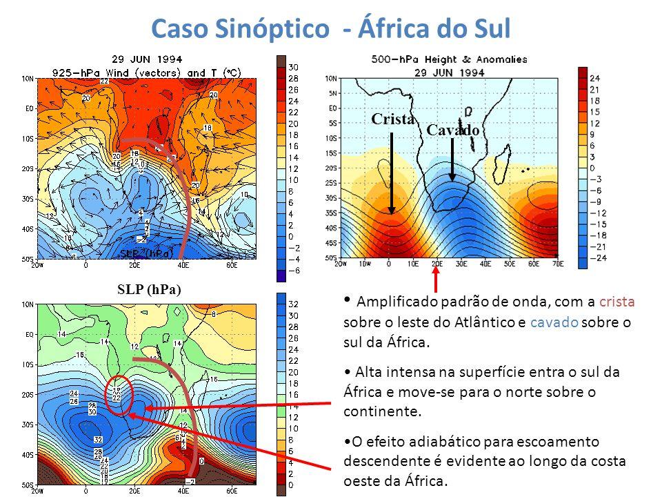 Caso Sinóptico - África do Sul SLP (hPa) Amplificado padrão de onda, com a crista sobre o leste do Atlântico e cavado sobre o sul da África. Alta inte