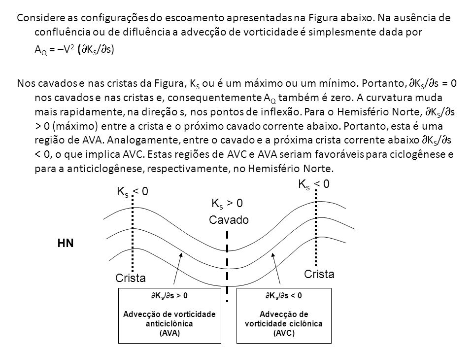 Considere as configurações do escoamento apresentadas na Figura abaixo. Na ausência de confluência ou de difluência a advecção de vorticidade é simple