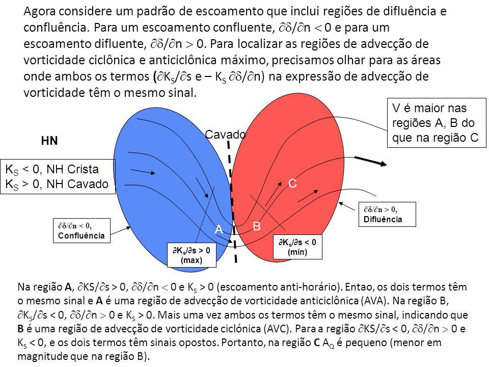 Agora considere um padrão de escoamento que inclui regiões de difluência e confluência. Para um escoamento confluente, / n 0 e para um escoamento difl