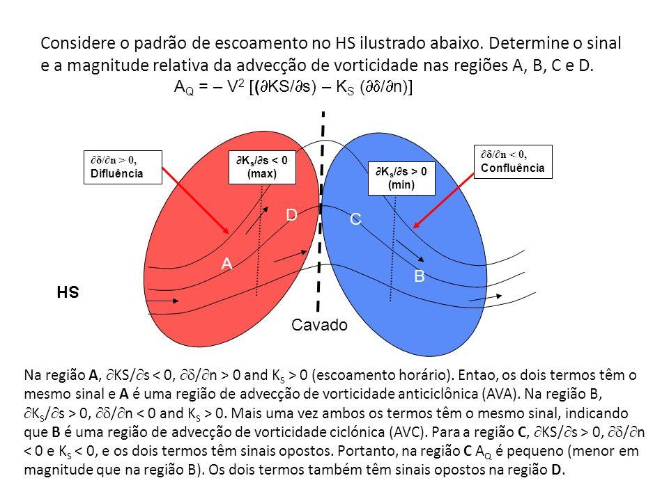 Considere o padrão de escoamento no HS ilustrado abaixo. Determine o sinal e a magnitude relativa da advecção de vorticidade nas regiões A, B, C e D.